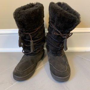 J Crew Dark Brown Suede Fur Shearling Winter Boots